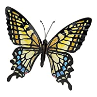 LARGE METAL COLOURFUL BUTTERFLY GARDEN DECORATION WALL ART 31cm x 35cm from .