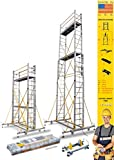 Euro Skymaster Extenso Scaffold ladder 14 ft to 22ft - Made in USA - Ultra Portable - Reach 25 ft - Blaze fit in 15 mins - lockable wheels - height adjustable by just the pull of rope - worlds most portable & compact scaffold system