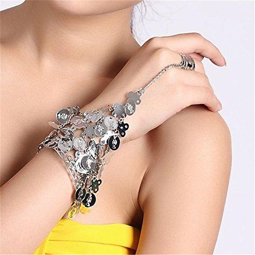 Danse du ventre Performances Accessories Triangle Bracelet With Coin Hand Wrist Bangle Ring 1PC silver