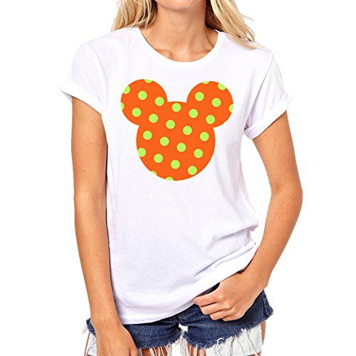Mickey Mouse Disney Dope Icon Swag Colour Orange Green Dotted Damen T-Shirt Weiß