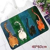 Paillasson d'entrée Antidérapant Tapis d'entrée intérieur ou extérieur, Patron de chat, tapis de porte rectangulaire 40 * 60cm