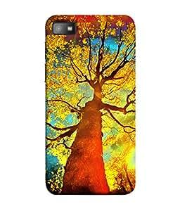 PrintVisa Designer Back Case Cover for BlackBerry Z10 (Tree Bird Poster Leaf Wood Black Sky Beauty Orange)