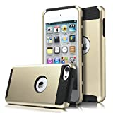 ULAK SK326786 Hybrid Hard Case for iPod Touch 5 and iPod Touch 6 (Champagne Gold/Black)