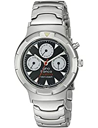 gino franco Men's 980SL Round Stainless Steel Multi-Function Bracelet Watch