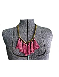 De Novo Pink Tassle Statement Necklace For Girls/Women For Party Wear , Casual Wear , Office Wear ,