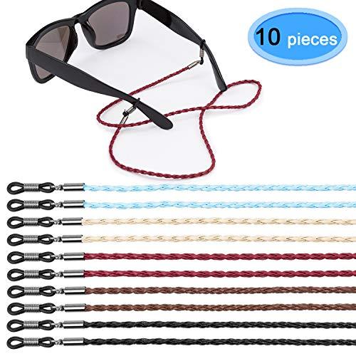 EAONE 10 Stück Brillenbänder, Brillenhalter PU-Leder Brillenbänder Sonnenbrillen Halter Kette (5 Farben)