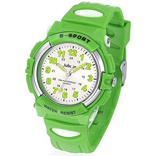 Juboos Kinderuhr Jungen Mädchen Analog Quartz Uhr mit Armbanduhr Gummi Wasserdicht Outdoor Sports Uhren-JU-001(Grün) (Grüne Mädchen-uhr)