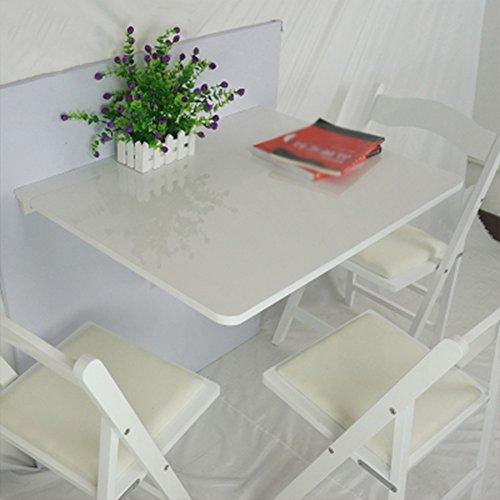 Table de Salle à Manger Pliante Murale en Bois Massif Table de Salle à Manger Pliante Space Saver Bureau Convertible Pliable 75 * 60cm (Couleur : Blanc)