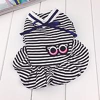 YQYQYQ Pet Stripe Dress Vestido De Perro Primavera Verano Verano Vip Teddy Dog Dress Primavera, Negro, M: Busto 38 Longitud De Espalda 25