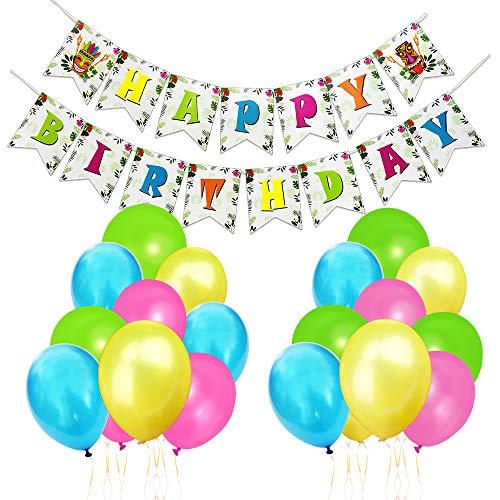 WERNNSAI Hawaiian Party Dekoration Set - Luau TTropisch Partei Liefert Einschließlich Happy Birthday Banner, 20 Latexballons, Goldene Bänder