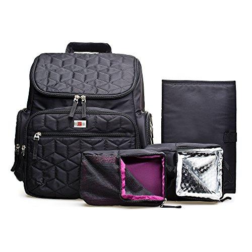Großes Fassungsvermögen Wickeltasche, wasserdichtes Baby Wickeltasche für Reisen, multifunktionaler Windel Rucksack mit Kinderwagen Haken für Mom, Dad