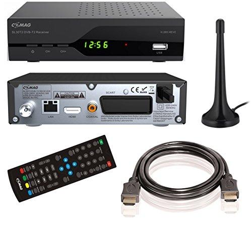 """COMAG SL30T2 FullHD HEVC DVBT/T2 Receiver (H.265, HDTV, HDMI, SCART, Mediaplayer, PVR Ready, USB 2.0, Testurteil: Stiftung Warentest 02/2017: """"gut"""" (Note 2,2)) inkl. DVB-T2 Antenne + HDMI-Kabel, schwarz"""