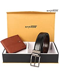 SPAIROW Men's Tan And Black Leather Wallet And Belt COMBO-18(W210-PBL05)