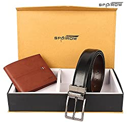 SPAIROW Mens Leather Wallet & Belt Combo -18 (W210-PBL05) TAN::BLACK