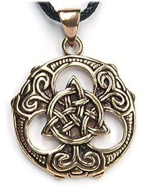 Tris Shild keltischerSchmuck Anhänger Bronze, Länge mit Öse: 3cm, inkl. Band