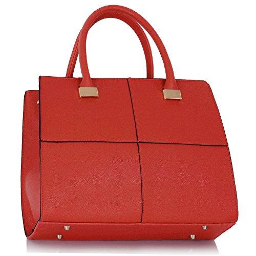 LeahWard® Damen Mode Qualität Kunstleder Taschen Handtaschen Chic Essener-Tasche LS00153M Red