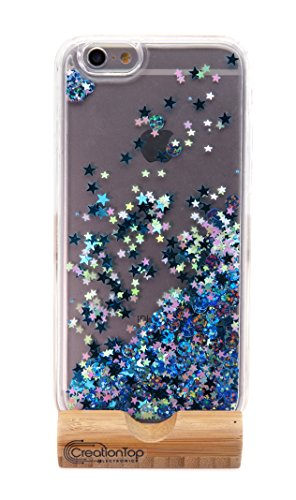 Christmas Gifts creationtop iPhone 6 6S Fall, TPU Bumper, Kratzfest, Harte Rückseite mit Liquid Treibsand Bling Liebenswürdig, Floating beweglichen Glanz infundiert, Blue Giltter Iphone6/6s (Fällen Bling Iphone6)