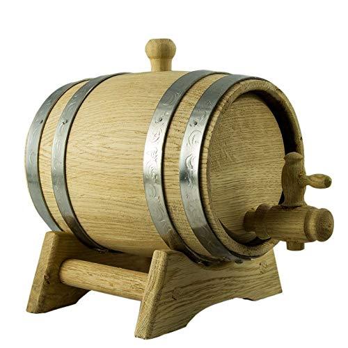 Holzfass aus Eiche mit Lagerbock und Auslaufhahn für Wein oder Spirituosen, Volumen Eichenfass:5 Liter - 5-liter-eichenfass
