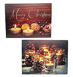 Geschenkestadl 2 LED Wandbilder Teelichter beleuchtet Bild je 40 x 30 cm Leinwand Weihnachten Merry Christmas