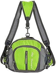 Wewod Riñonera Deportiva Impermeable/Riñoneras Trekking/Mochilas de Viaje/Bolso Bandolera Unisex 26 x 20 x 13 cm (L x H x W) (Verde)