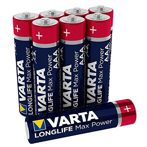VARTA Longlife Max Power AAA Micro LR03 Batterie, Alkaline Batterien, ideal für Spielzeug und Alltagsgeräte (8er Pack) (Aaa Varta)