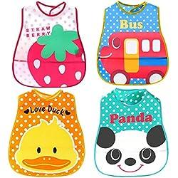 Happy cherry - (4 Pcs EVA+PE) Baberos Impermeables con Bolsillo Velcro Dibujos para Bebés niños niñas - Estilo aleatorio