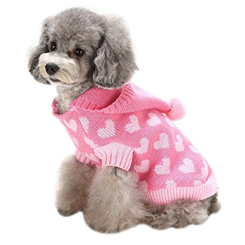ze Strickpullover Sweater Niedlich Jumper Haustier Weihnachten Kostüm Mantel (Pink Herz, L) (Niedliche Chihuahua-kostüme)