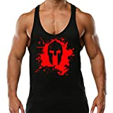 Photo de Crown Designs Blood Spartan Musculation Sports de Musculation Debardeur a Dos Nageur avec Dos Nageur Digne des Hommes Et des Adolescents par Crown Designs