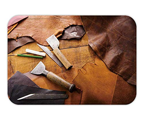 a950f9debe0 BagsPillow Doormat leathersmith s Work Desk Pieces of Tan and Brown Hide  and Leather Working Tools