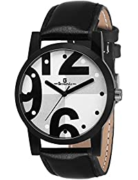 Geonardo Frenzy White Dial Black Strap Analog Strap Watch For Boys- GDM043