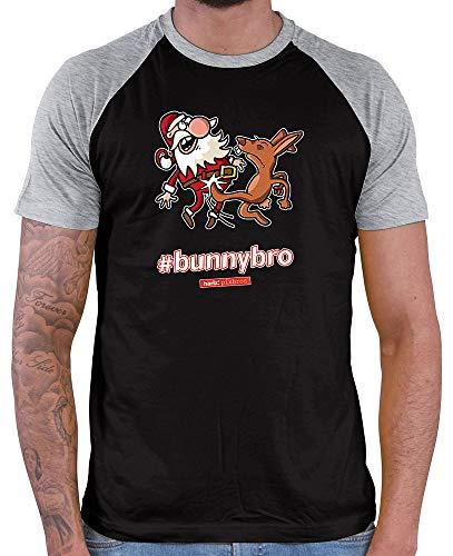 (HARIZ  Herren Baseball Shirt Pixbros Bunnybro Xmas Weihnachten Witzig Familie Liebe Inkl. Geschenk Karte Black/Grey Melange S)