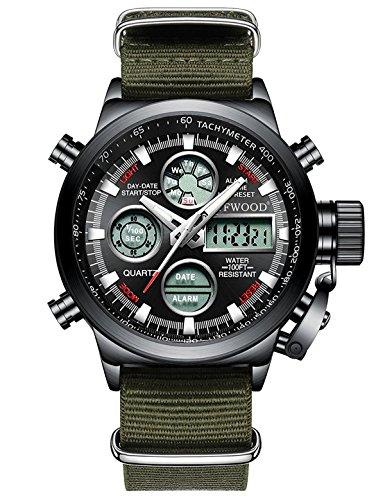 Mens sport orologi donna orologio da polso analogico digitale impermeabile esercito militare ha portato indietro calendario luce multifunzione casual navy watch (cinturino in nylon verde)