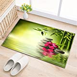 Spa Dekor Badezimmer Teppiche rutschfeste saugfähige Badematten weichen Duschvorleger Grünes Bambusblatt,grauer Stein,rote Orchidee