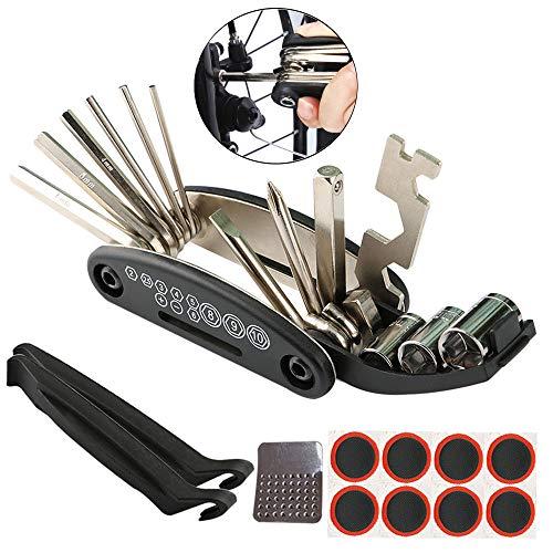 FULARR Multifunktionswerkzeug, Fahrrad Mini Klapp Werkzeug Set, 16 in 1 Fahrrad-Multitool, Fahrrad Reparatur Set Pocket Tool, mit Steckschlüsseln und Sechskant-Schraubendreher-Set – Schwarz