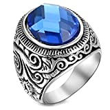Best Knot Ring - Peora Vintage Stainless Steel Celtic Knot Blue Glass Review