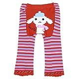 Baby & Kleinkind Woll-Legging von Dotty Fisch - Rote Streifen mit Peggy Pudel - Mittel / 12-24 Monate