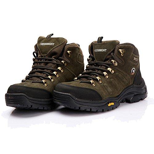 emansmoer Homme Suède Doublé polaire Lace-Up Imperméable Outdoor Sport Chaussures de Randonnée Trekking Trail Marche Armée verte