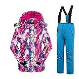 Mädchen Kinder Skianzug Skijacke Skihose Regenlatzhose Verdickung Lang Jacket Wintermantel Mantel (Blau, 158/164)