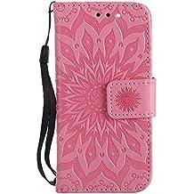 """Funda iPod Touch 5, LUSHENG Caso Shock Absorción Resistente a Los Arañazos Cover para iPod Touch 5 (4.0"""") PU Cuero Plegable Manga Billetera Funda Rosado"""