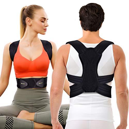 Corrector de Postura Espalda y Hombros Para Hombre y Mujer, Faja para Dolor de Espalda, Enderezador de Espalda Transpirable, Cinturón de Cintura Doble Mejorado(L, cintura 30 '' - 42 '')