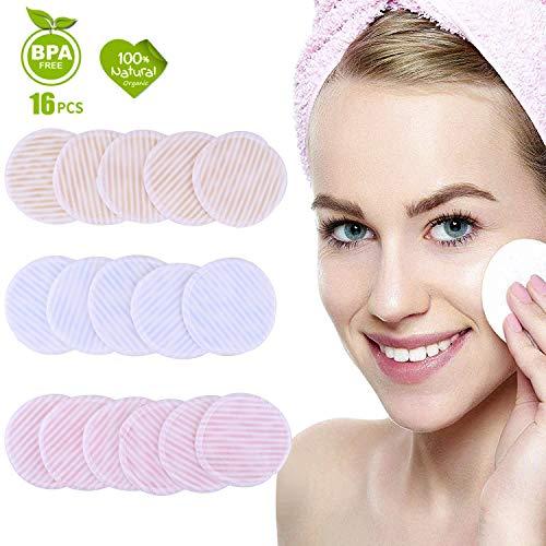 Arfbear Almohadillas Desmaquillantes Reutilizables, 16pcs Discos Desmaquillantes de Bambú y Algodón, Almohadillas Cosméticas de Maquillaje Lavables Con Bolsa de Lavado Aptos Para Todo Tipo de Pieles