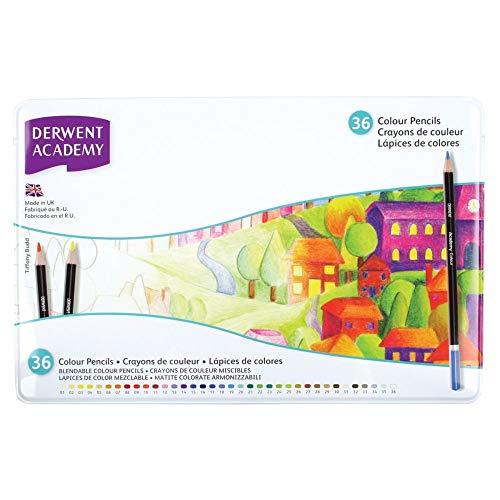 Derwent academy colouring confezione da 36 matite in scatola di metallo