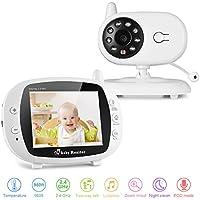 LESHP Wireless Baby Monitor, Baby Digital Audio Video, Gamma di Trasmissione a Lungo Raggio 2.4 GHz, Visione Notturna, Monitoraggio Temperatura, Audio Bidirezionale, Canzoni di Culla