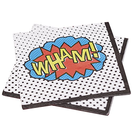 Ginger Ray Wham Superheld Partei Papier Servietten - Comic Superhelden (Nerd Party Supplies)