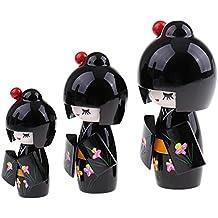 Blesiya Set Di 3 Fatti A Mano In Legno Tradizionale Modello Sakura Giapponese Kimono Kokeshi Bambole Casa Scrivania Decorazione Artigianali - Nero # 1