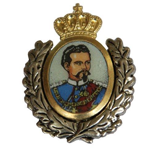 Hutanstecker   Hutabzeichen   Hutschmuck   Trachten-Anstecker - König Ludwig II - 3 x 3,5 cm - Goldener Einsatz mit Ehrenkranz