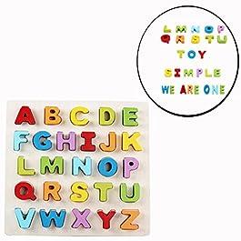 Cisixin Giocattolo Educativo in legno, Puzzle Alfabeto con 26 Lettere