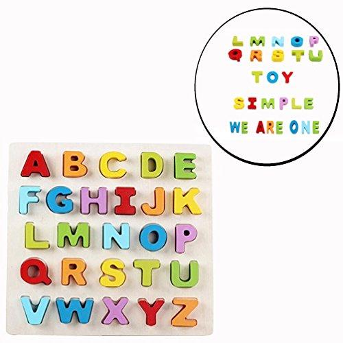 Cisixin Holzpuzzle ABC Buchstaben Holzspielzeug, Bestes Holzspielzeug für Spielerisches Lernen des Alphabet Motorikspielzeug ab 2 Jahre Legespiel Geschenk für Kinder