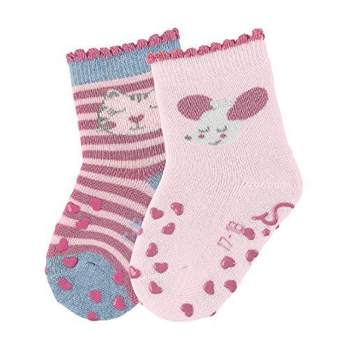 Sterntaler Baby-Mädchen ABS-Krabbel DP Katze Socken 2er pack,Mehrfarbig(Helllila 650),19-20 EU