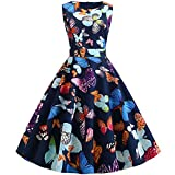 Butterfly Print Vintage Rockabilly Dress Women New Summer Sleeveless A Line Party Dresses Robe Femme...